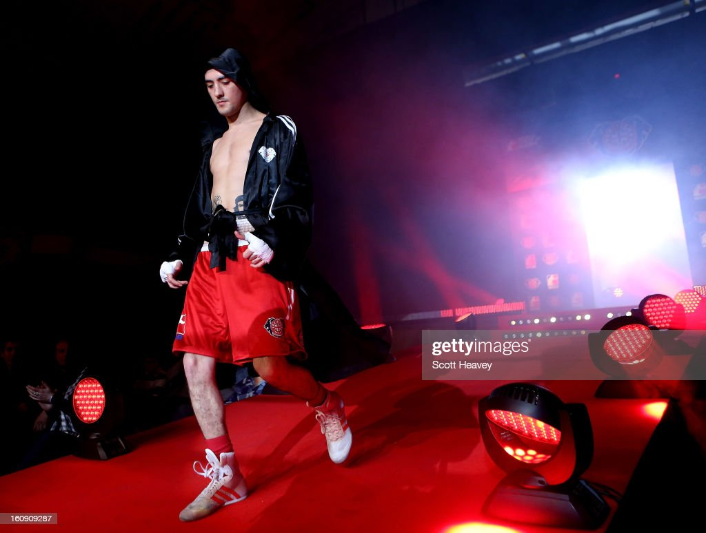 Andrew Selby of British Lionhearts enters the ring prior to his 50-54KG bout with Meirbolat Toitov of Astana Arlans Kazakhstan during their 50-54KG bout during the World Series of Boxing between British Lionhearts and Astana Arlans Kazakhstan on February 7, 2013 in London, England.