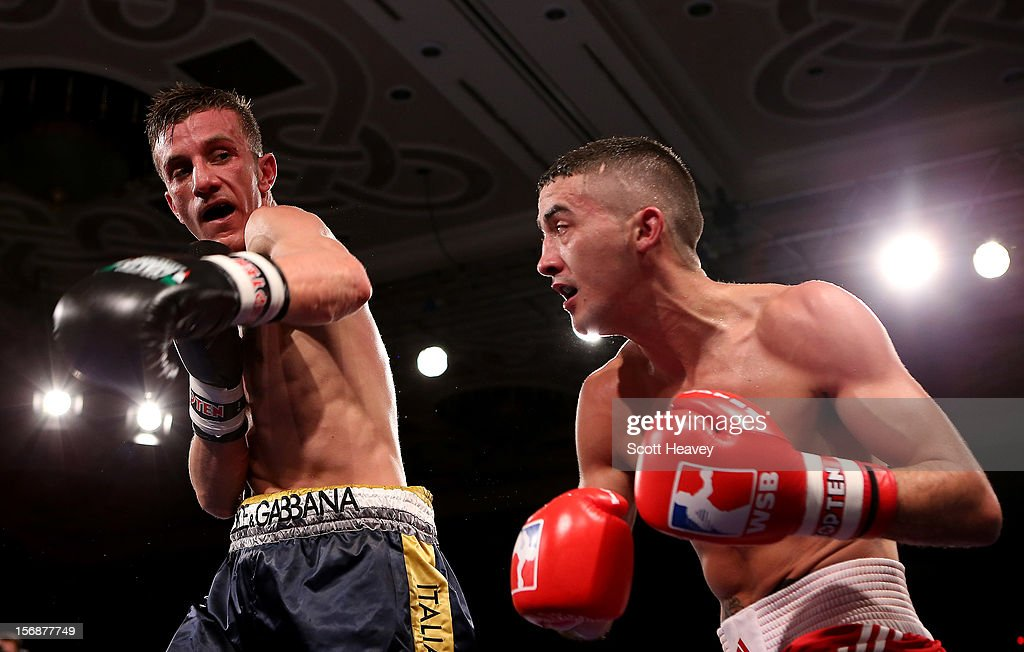 Andrew Selby of British Lionhearts (R) in action with Daniele Limone of Italia Thunder during their 50-54kg bout in the World Series of Boxing between British Lionhearts and Italia Thunder on November 23, 2012 in Newport, Wales.