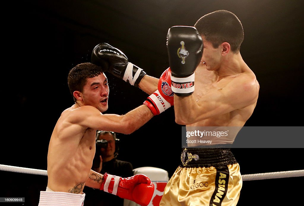 Andrew Selby of British Lionhearts (L) in action with Meirbolat Toitov of Astana Arlans Kazakhstan during their 50-54KG bout during the World Series of Boxing between British Lionhearts and Astana Arlans Kazakhstan on February 7, 2013 in London, England.