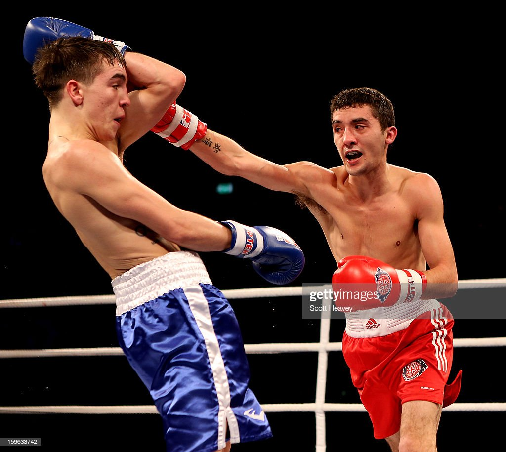 Andrew Selby of British Lionhearts (R) in action with <a gi-track='captionPersonalityLinkClicked' href=/galleries/search?phrase=Michael+Conlan&family=editorial&specificpeople=3018646 ng-click='$event.stopPropagation()'>Michael Conlan</a> of USA Knockouts during their 50-56kg bout in the World Series of Boxing Match between British Lionhearts and USA Knockouts at York Hall on January 17, 2013 in London, England.