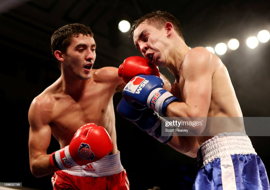 Andrew Selby of British Lionhearts (L) in action with <a gi-track='captionPersonalityLinkClicked' href=/galleries/search?phrase=Michael+Conlan&family=editorial&specificpeople=3018646 ng-click='$event.stopPropagation()'>Michael Conlan</a> of USA Knockouts during their 50-56kg bout in the World Series of Boxing Match between British Lionhearts and USA Knockouts at York Hall on January 17, 2013 in London, England.