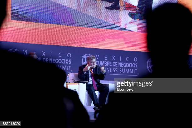 Andrew Selee president of the Migration Policy Institute speaks during the Mexico Business Summit in San Luis Potosi Mexico on Sunday Oct 22 2017 The...
