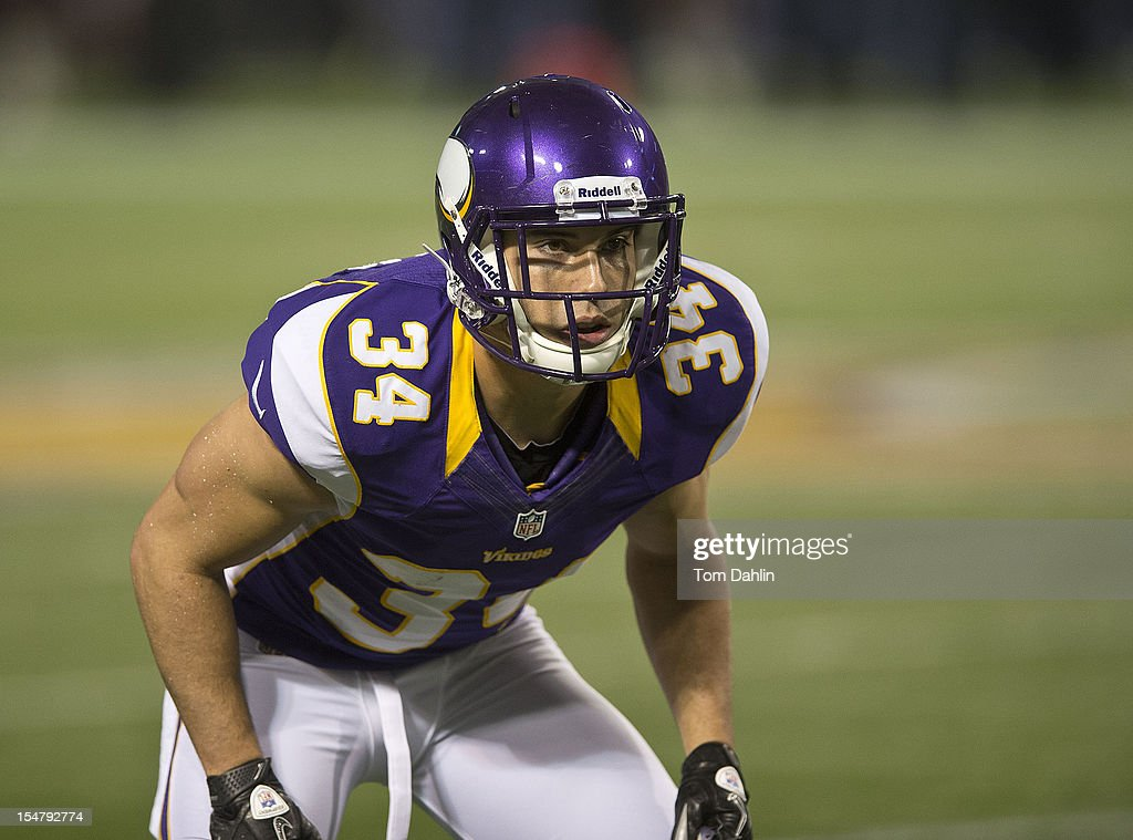 Andrew Sendejo #34 of the Minnesota Vikings lines up during an NFL game against the Tampa Bay Buccaneers at Mall of America Field at the Hubert H. Humphrey Metrodome on October 25, 2012 in Minneapolis, Minnesota.