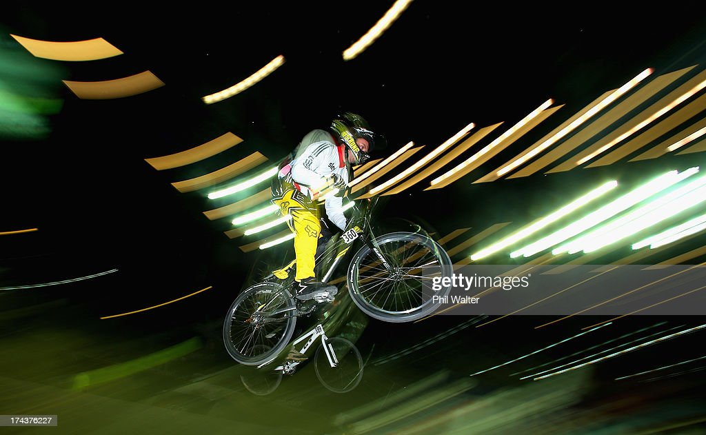 Andrew Shaw of Great Britain clears a jump during day two of the UCI BMX World Championships at Vector Arena on July 25, 2013 in Auckland, New Zealand.