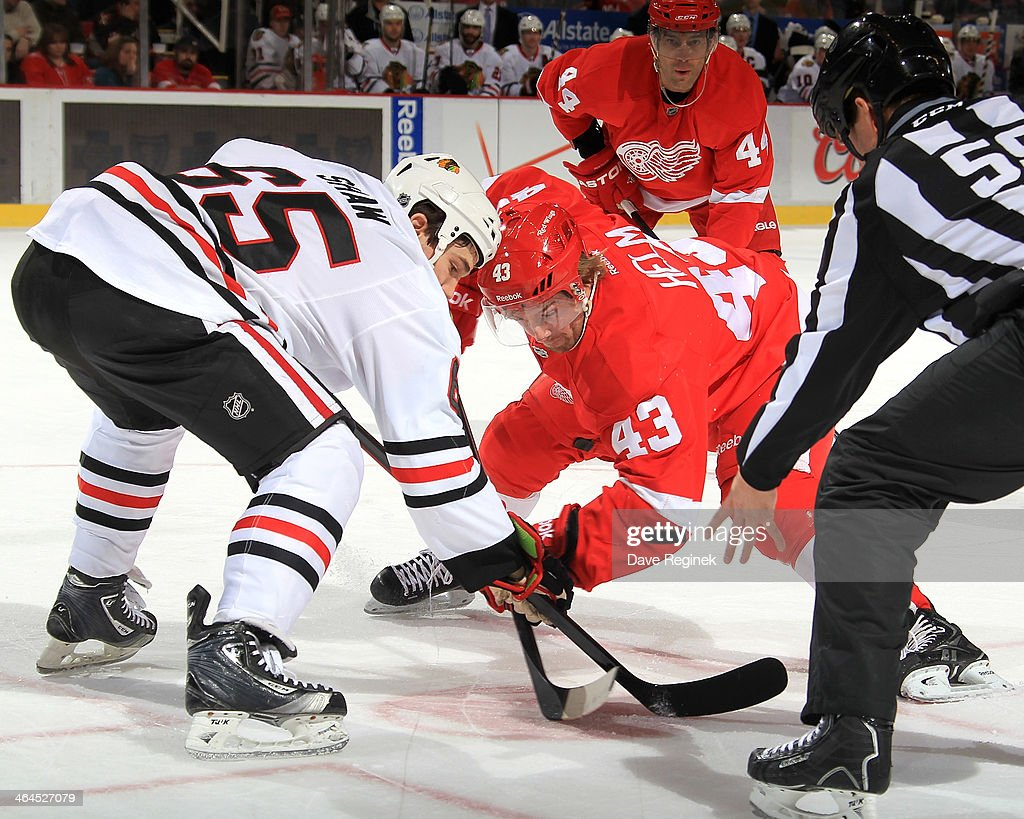 Andrew Shaw #65 of the Chicago Blackhawks and <a gi-track='captionPersonalityLinkClicked' href=/galleries/search?phrase=Darren+Helm&family=editorial&specificpeople=3949334 ng-click='$event.stopPropagation()'>Darren Helm</a> #43 of the Detroit Red Wings face-off during an NHL game on January 22, 2014 at Joe Louis Arena in Detroit, Michigan.