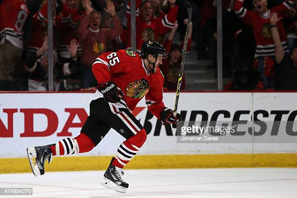 Andrew Shaw of the Chicago Blackhawks celebrates a third period goal against the Anaheim Ducks in Game Six of the Western Conference Finals during...