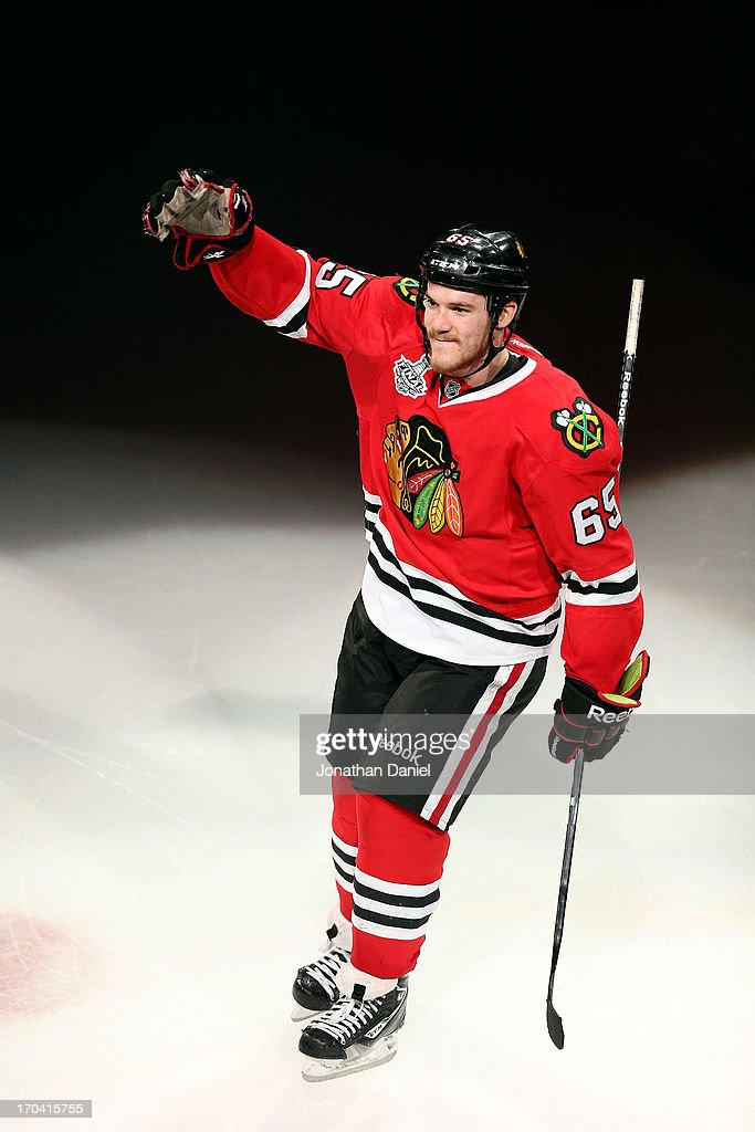Andrew Shaw #65 of the Chicago Blackhawks celebrates after he was named a star of the game after they won 4-3 in the third overtime against the Boston Bruins in Game One of the 2013 NHL Stanley Cup Final at United Center on June 12, 2013 in Chicago, Illinois.