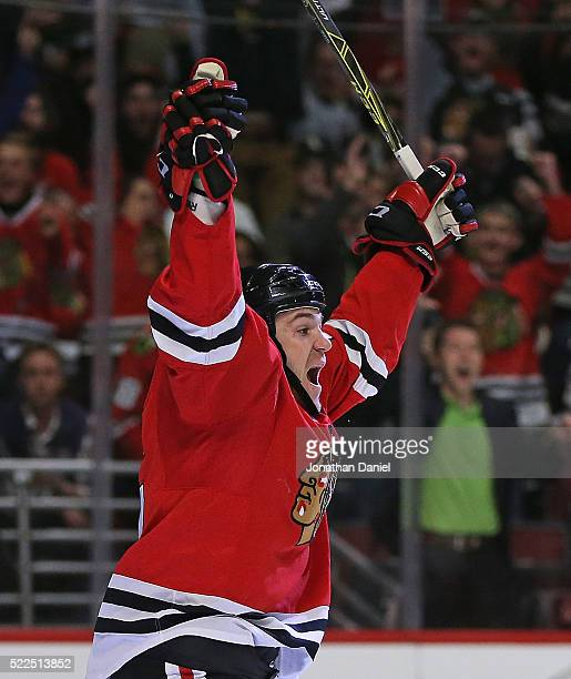 Andrew Shaw of the Chicago Blackhawks celebrates his second period goal against the St Louis Blues in Game Four of the Western Conference First Round...