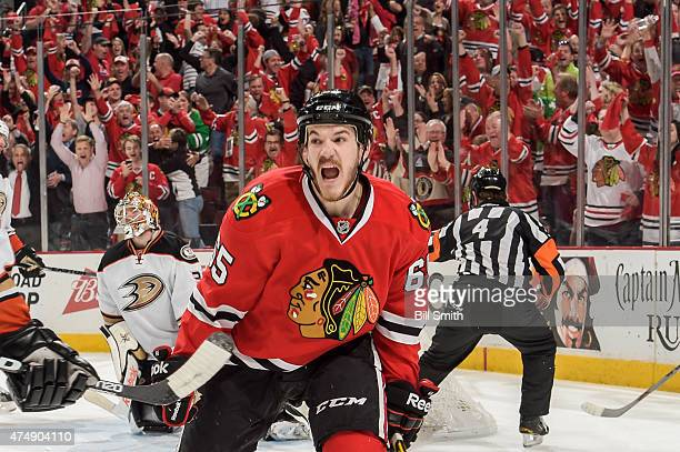 Andrew Shaw of the Chicago Blackhawks reacts after scoring against the Anaheim Ducks in the third period in Game Six of the Western Conference Finals...