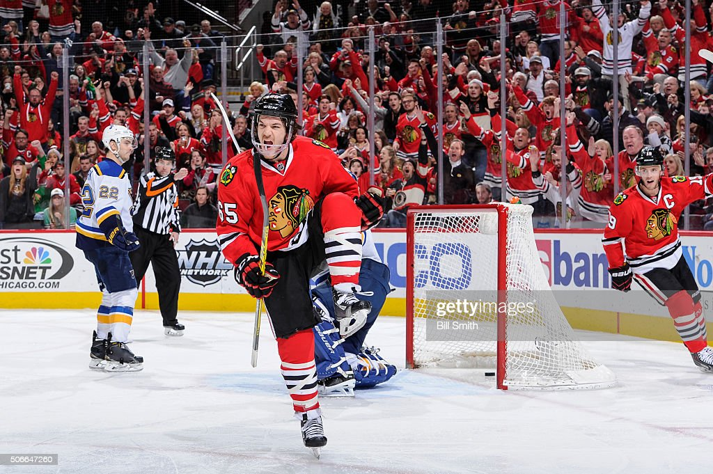 <a gi-track='captionPersonalityLinkClicked' href=/galleries/search?phrase=Andrew+Shaw+-+Ice+Hockey+Player&family=editorial&specificpeople=10568695 ng-click='$event.stopPropagation()'>Andrew Shaw</a> #65 of the Chicago Blackhawks reacts after scoring against the St. Louis Blues in the third period of the NHL game at the United Center on January 24, 2016 in Chicago, Illinois.