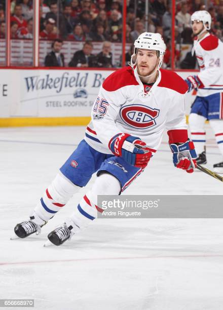 Andrew Shaw of the Montreal Canadiens skates against the Ottawa Senators at Canadian Tire Centre on March 18 2017 in Ottawa Ontario Canada