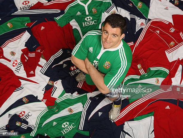 Andrew Sheridan of England stands among some of the 7500 pieces of adidas kit that the British Irish Lions will take to South Africa during the...