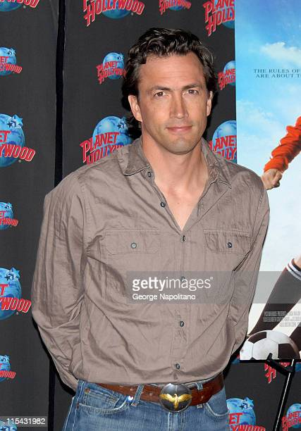 Andrew Shue during Andrew Shue and Carly Schroeder Donate Memorabila From Their Movie 'Gracie' to Planet Hollywood at Planet Hollywood Time Square in...