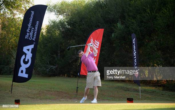 Andrew Skinner of Royal Dornoch Golf Club plays his first shot on the 1st tee during The Lombard Trophy Final Day One on September 21 2017 in...