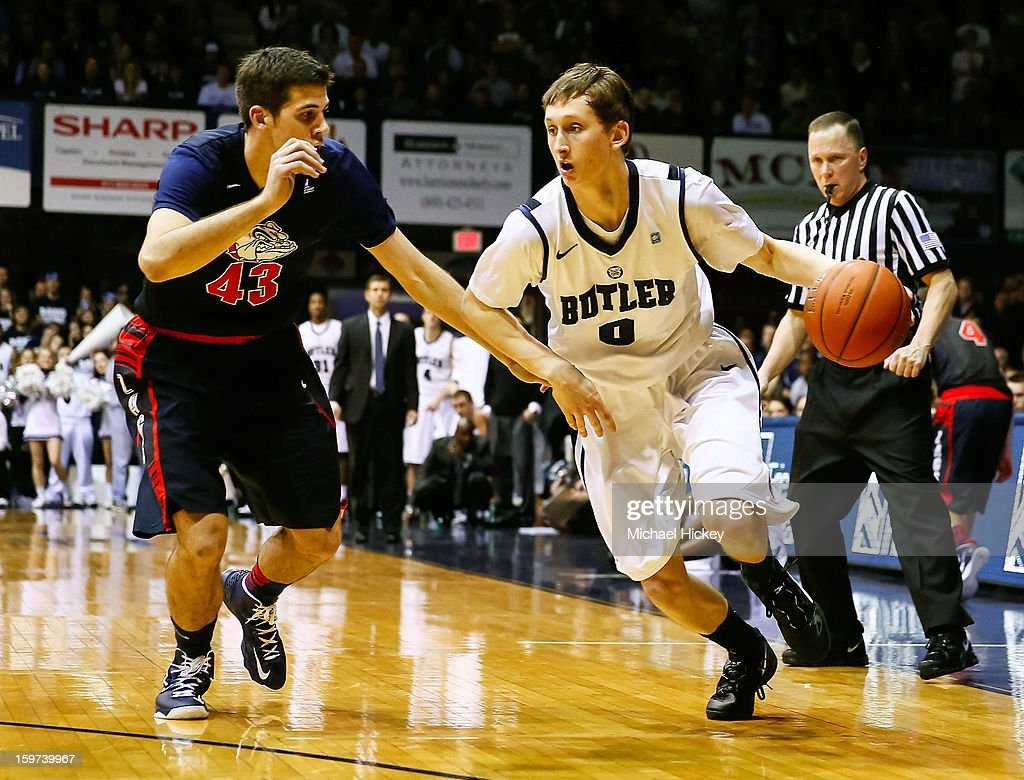 Andrew Smeathers #0 of the Butler Bulldogs dribbles the ball against Drew Barham #43 of the Gonzaga Bulldogs at Hinkle Fieldhouse on January 19, 2013 in Indianapolis, Indiana.