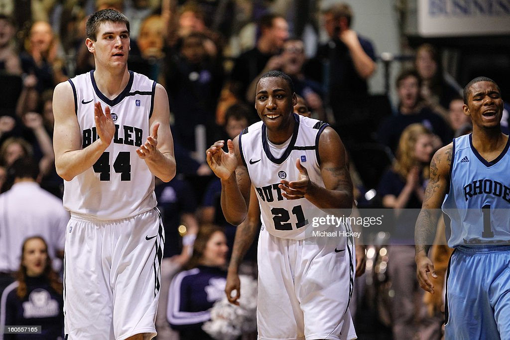 Andrew Smith #44 of the Butler Bulldogs and Roosevelt Jones #21 of the Butler Bulldogs react after a call against the Rhode Island Rams at Hinkle Fieldhouse on February 2, 2013 in Indianapolis, Indiana. Butler defeated Rhode Island 75-68.