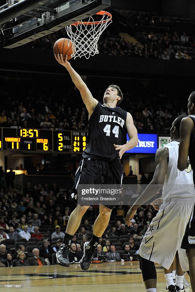 Andrew Smith #44 of the Butler Bulldogs plays against the Vanderbilt Commodores at Memorial Gym on December 29, 2012 in Nashville, Tennessee.