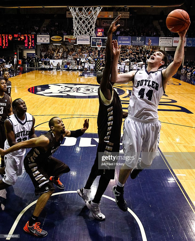<a gi-track='captionPersonalityLinkClicked' href=/galleries/search?phrase=Andrew+Smith+-+Basketball+Player&family=editorial&specificpeople=7641849 ng-click='$event.stopPropagation()'>Andrew Smith</a> #44 of the Butler Bulldogs shoots the ball against the St. Bonaventure Bonnies at Hinkle Fieldhouse on February 6, 2013 in Indianapolis, Indiana. Butler defeated St Bonaventure 77-58.