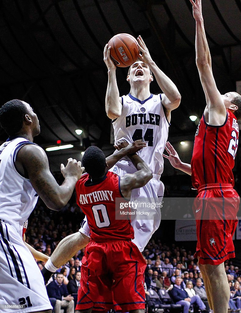 Andrew Smith #44 of the Butler Bulldogs shoots the basket over Kendall Anthony #0 of the Richmond Spiders at Hinkle Fieldhouse on January 16, 2013 in Indianapolis, Indiana.