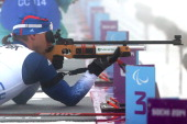 Andrew Soule of the USA competes in the Men's Biathlon 125km Sitting during day four of Sochi 2014 Paralympic Winter Games at Laura Crosscountry Ski...