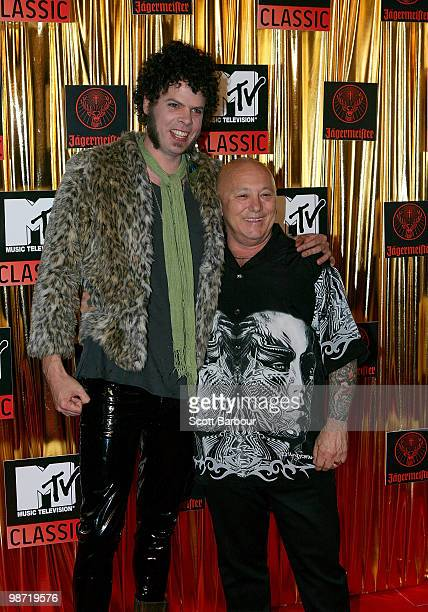 Andrew Stockdale of Wolfmother and Angry Anderson arrives at the 'MTV Classic The Launch' music event at the Palace Theatre on April 28 2010 in...
