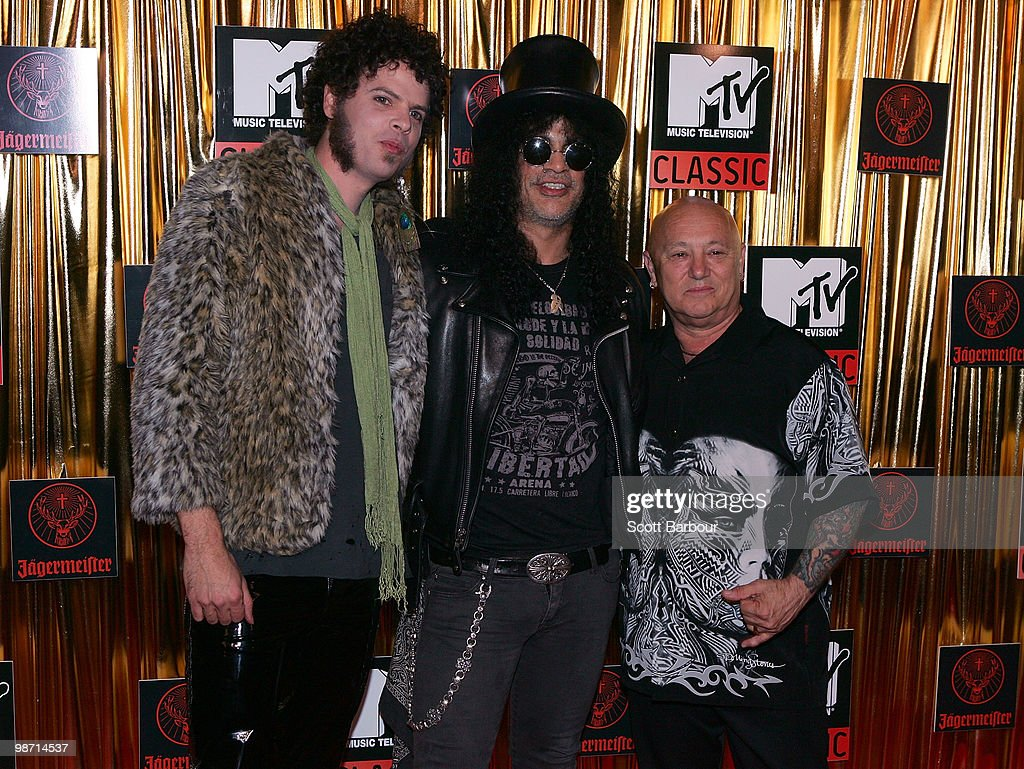 Andrew Stockdale of Wolfmother, Slash and Angry Anderson arrives at the 'MTV Classic: The Launch' music event at the Palace Theatre on April 28, 2010 in Melbourne, Australia. The event marks the launch of MTV's new music channel 'MTV Classic', a 24-hour channel of classic contemporary music aimed at 25-40 year olds.