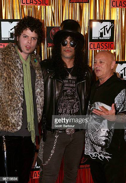 Andrew Stockdale of Wolfmother Slash and Angry Anderson arrives at the 'MTV Classic The Launch' music event at the Palace Theatre on April 28 2010 in...