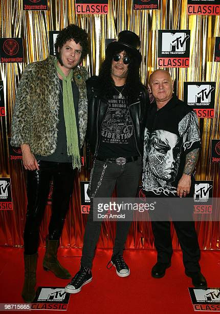 Andrew Stockdale Slash and Angry Anderson arrives at the 'MTV Classic The Launch' music event at the Palace Theatre on April 28 2010 in Melbourne...