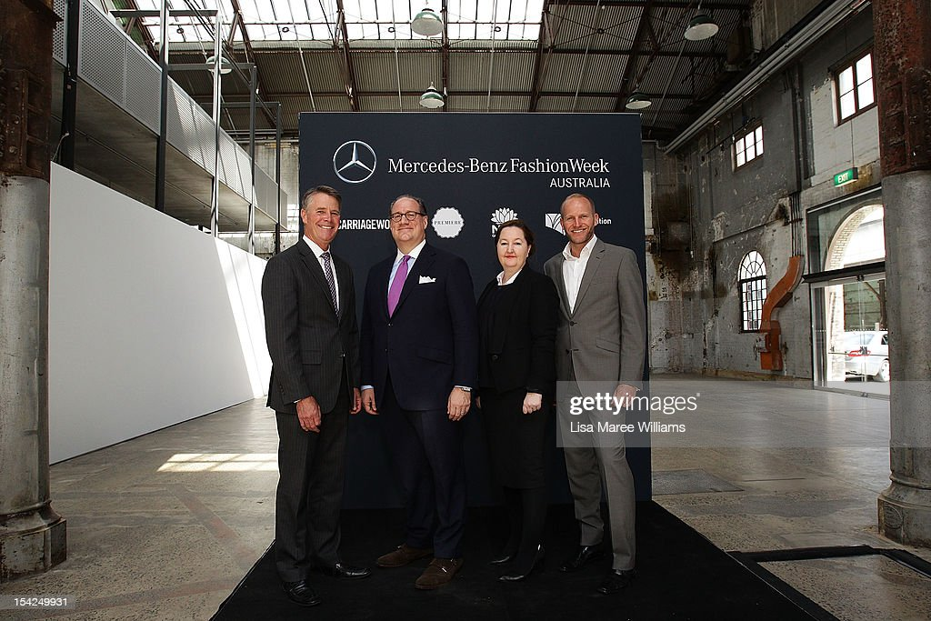 Andrew Stoner, Peter Levy, Lisa Havillah and Harvey Stockbridge pose at the Mercedes-Benz Fashion Week Australia 2013 Plan Launch at Carriageworks on October 17, 2012 in Sydney, Australia. IMG today announced Carriageworks as the new host venue of Mercedes-Benz Fashion Week Australia.