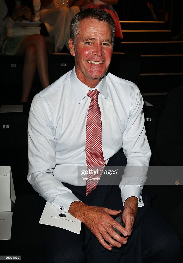 Andrew Stoner sits front row at the Camilla and Marc show during Mercedes-Benz Fashion Week Australia Spring/Summer 2013/14 at Carriageworks on April 8, 2013 in Sydney, Australia.