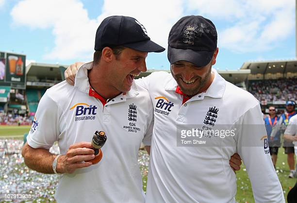 Andrew Strauss and Matt Prior of England celebrate with the Ashes Urn during day five of the Fifth Ashes Test match between Australia and England at...