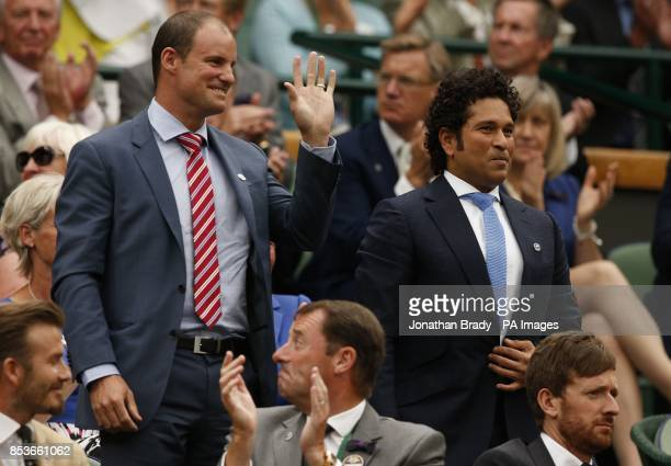 Andrew Strauss and Sachin Tendulkar in the Royal Box on Centre Court during day six of the Wimbledon Championships at the All England Lawn Tennis and...