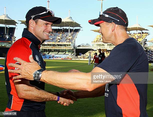 Andrew Strauss captain of England is congratulated by Andy Flower Coach of England after they beat South Africa by 6 runs during the 2011 ICC World...