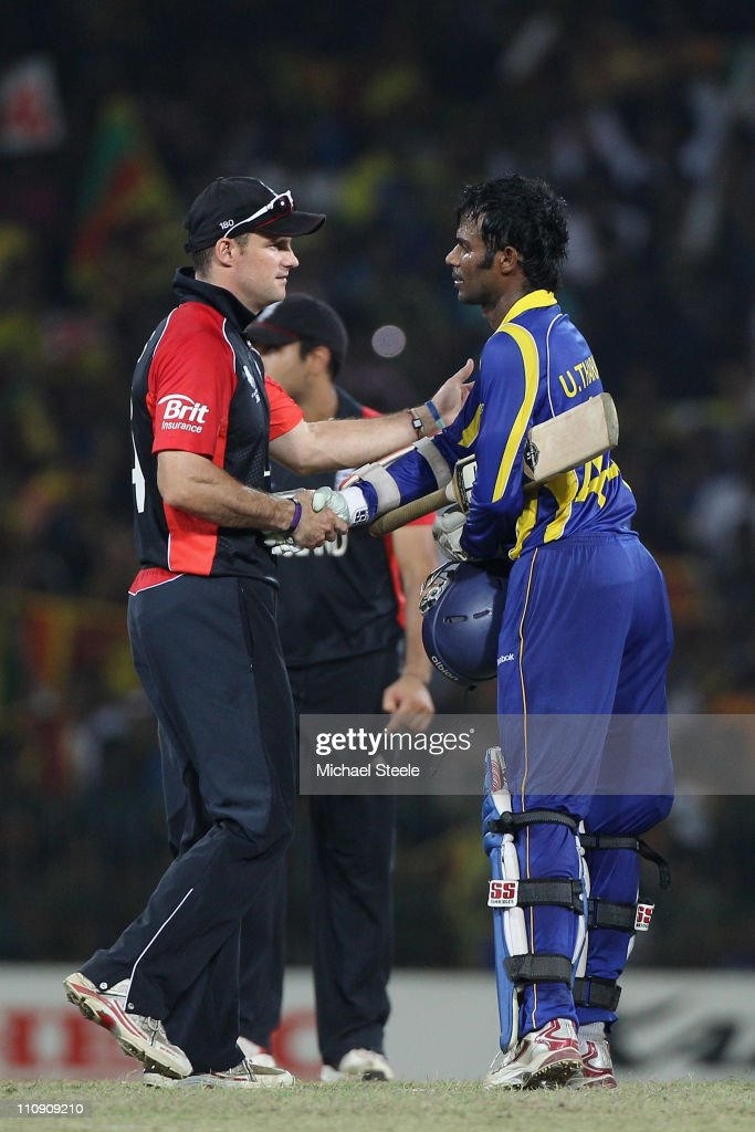 Andrew Strauss (L) captain of England shakes hands with Upul Tharanga (R) after Sri Lanka's ten wicket victory during the 2011 ICC World Cup Quarter-Final match between Sri Lanka and England at R. Premadasa Stadium on March 26, 2011 in Colombo, Sri Lanka.