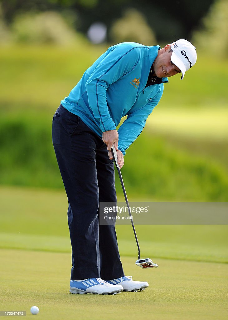 <a gi-track='captionPersonalityLinkClicked' href=/galleries/search?phrase=Andrew+Strauss&family=editorial&specificpeople=157548 ng-click='$event.stopPropagation()'>Andrew Strauss</a> in action during the Affinity Real Estate Shooting Stars First Round at The Grove Hotel on June 14, 2013 in Hertford, England.