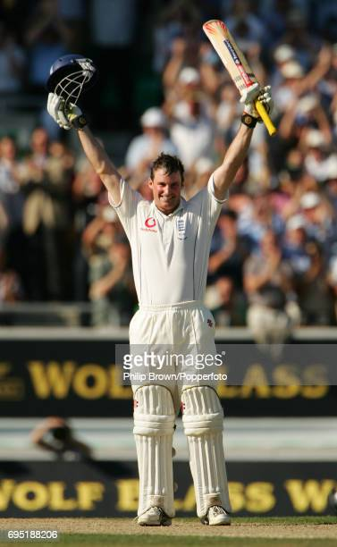Andrew Strauss of England celebrates his century during the 5th Ashes Test match between England and Australia at the Brit Oval in London on the the...