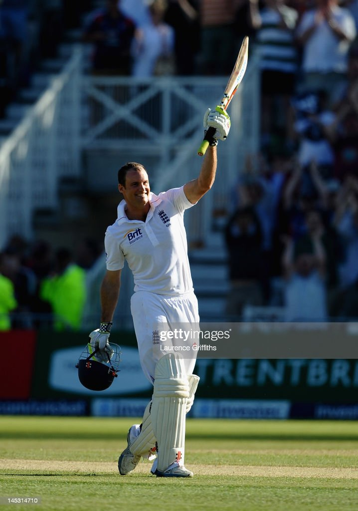 Andrew Strauss of England celebrates his century during the Second Investec Test match between England and West Indies at Trent Bridge on May 26, 2012 in Nottingham, England.