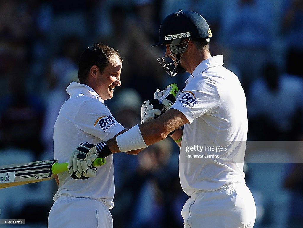 <a gi-track='captionPersonalityLinkClicked' href=/galleries/search?phrase=Andrew+Strauss&family=editorial&specificpeople=157548 ng-click='$event.stopPropagation()'>Andrew Strauss</a> of England celebrates his century with <a gi-track='captionPersonalityLinkClicked' href=/galleries/search?phrase=Kevin+Pietersen+-+Cricket+Player&family=editorial&specificpeople=202001 ng-click='$event.stopPropagation()'>Kevin Pietersen</a> during the Second Investec Test match between England and West Indies at Trent Bridge on May 26, 2012 in Nottingham, England.