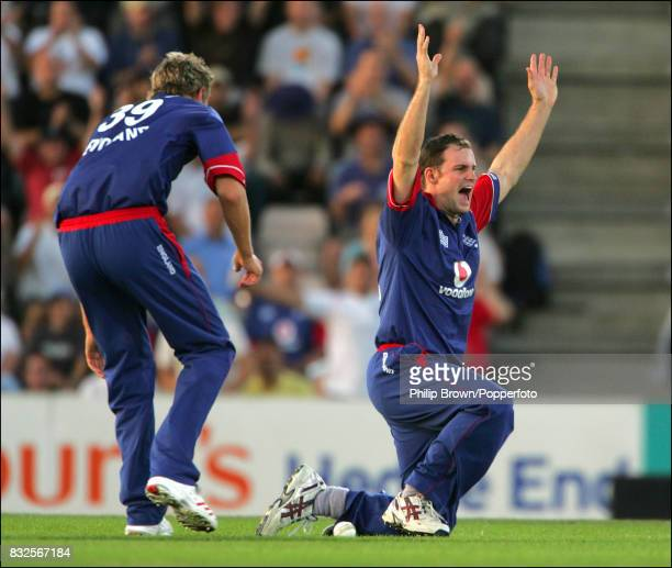 Andrew Strauss of England celebrates running out Pakistan batsman Mohammad Hafeez during the 3rd Natwest Series One Day International between England...