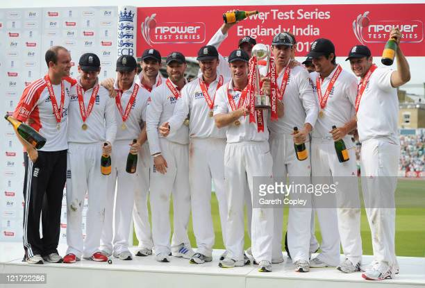 Andrew Strauss of England celebrates the series victory with his team and the npower trophy during day five of the 4th npower Test Match between...
