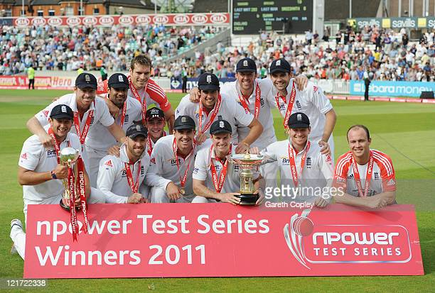 Andrew Strauss of England celebrates the series victory with his team and the Pataudi Trophy during day five of the 4th npower Test Match between...