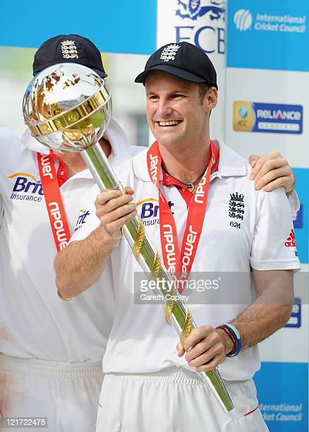 Andrew Strauss of England celebrates the series victory with the ICC Test Championship Mace as England become the number one ranked team during day...
