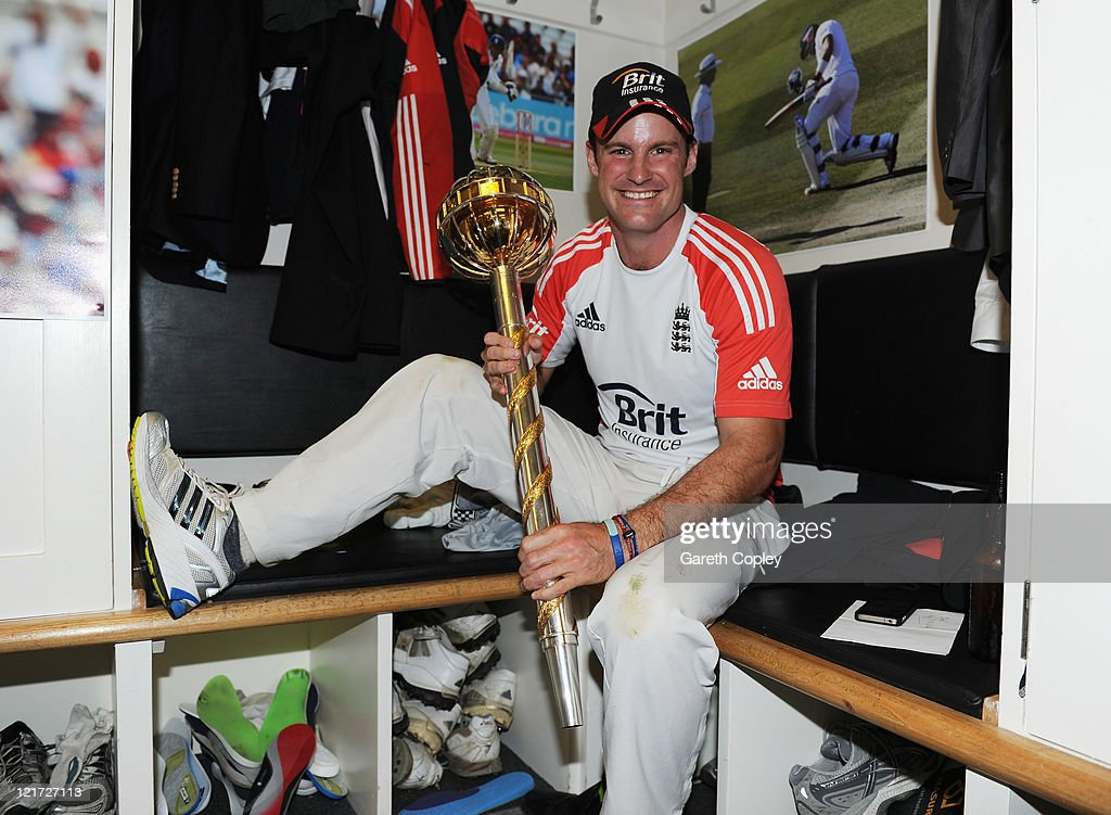 <a gi-track='captionPersonalityLinkClicked' href=/galleries/search?phrase=Andrew+Strauss&family=editorial&specificpeople=157548 ng-click='$event.stopPropagation()'>Andrew Strauss</a> of England celebrates the series victory with the ICC Test Championship Mace in the dressing room as England become the number one ranked team during day five of the 4th npower Test Match between England and India at The Kia Oval on August 22, 2011 in London, England.