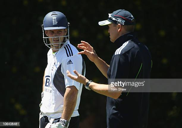 Andrew Strauss of England has a chat with coach Andy Flower during the England Nets Session at WACA on November 1 2010 in Perth Australia
