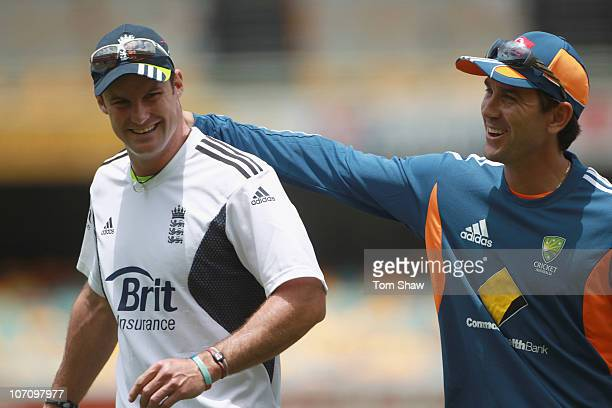 Andrew Strauss of England has a laugh with Justin Langer of Australia during the England nets session at The Gabba on November 24 2010 in Brisbane...