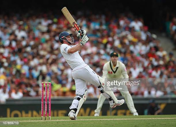 Andrew Strauss of England hits a six during day two of the Fifth Ashes Test match between Australia and England at Sydney Cricket Ground on January 4...