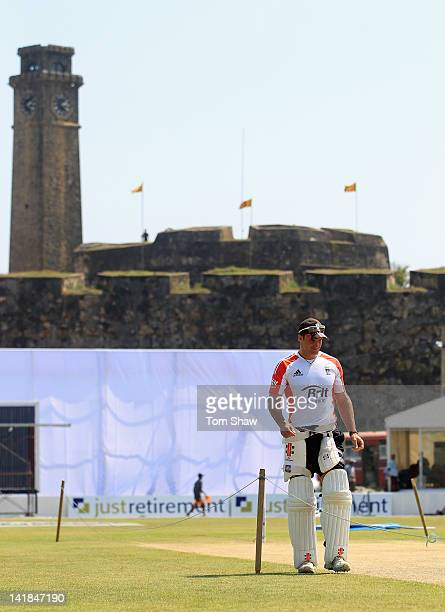 Andrew Strauss of England looks at the outfield during the England nets session at the Galle International Stadium on March 25 2012 in Galle Sri Lanka