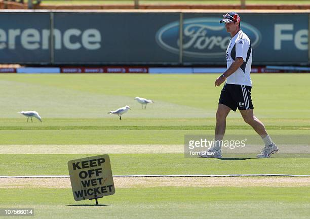 Andrew Strauss of England looks at the wicket during the England nets session at the WACA on December 14 2010 in Perth Australia