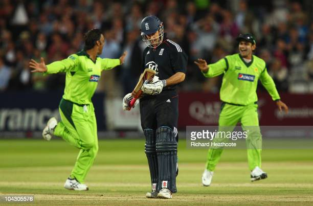 Andrew Strauss of England looks dejected after being dismissed by Shoaib Akhtar of Pakistan during the 4th NatWest One Day International between...