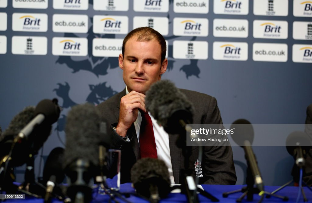 <a gi-track='captionPersonalityLinkClicked' href=/galleries/search?phrase=Andrew+Strauss&family=editorial&specificpeople=157548 ng-click='$event.stopPropagation()'>Andrew Strauss</a> of England looks glum as he announces his retirement from professional cricket during an England Cricket Media Press Conference at Lord's Cricket Ground on August 29, 2012 in London, England.